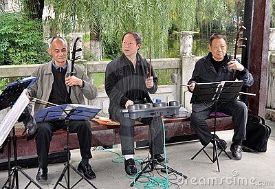 Pengzhou, China: Trio of Musicians Editorial Stock Image