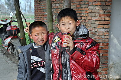 Pengzhou, China: Two Little Boys Editorial Stock Image