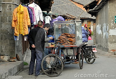 Pengzhou, China: Vendor Selling Cooked Goose Editorial Stock Photo