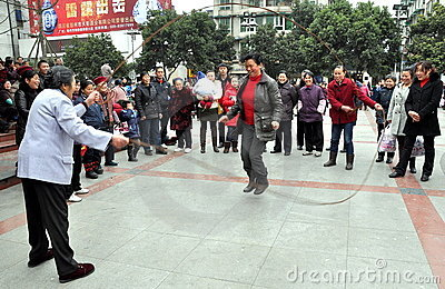 Pengzhou, China: Woman Jumping Rope Editorial Photography