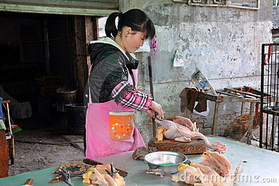 Pengzhou, China: Woman Selling Chickens Editorial Photography