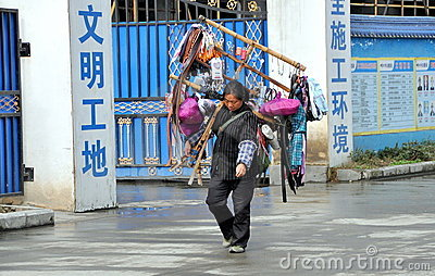 Pengzhou, China: Woman Selling Sundries Editorial Photo