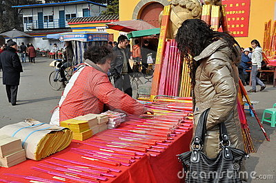 Pengzhou, China: Woman Shopping for Fireworks Editorial Stock Image