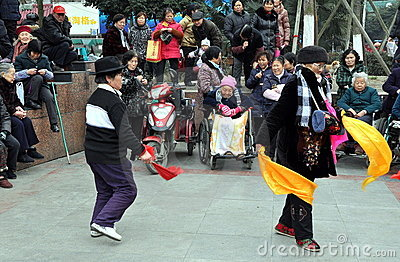 Pengzhou, China: Women Dancing in New Square Editorial Photography