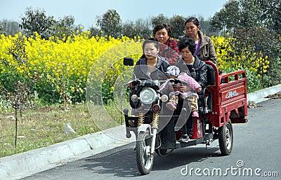Pengzhou, China: Women Riding in Cart Editorial Stock Image