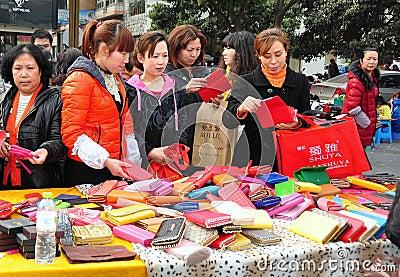 Pengzhou, China: Women Shopping for Bargains Editorial Image