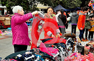 Pengzhou, China: Women Shopping for Clothing Editorial Photo