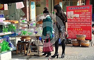 Pengzhou, China: Women Shopping at Pet Store Editorial Image