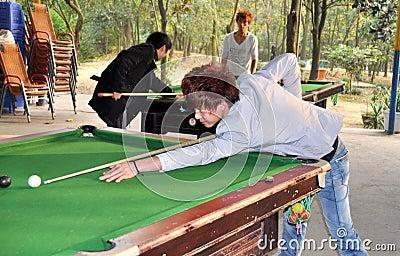 Pengzhou, China: Youths Playing Pool Editorial Photo