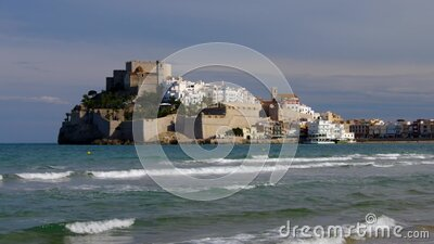 Peniscola village,view with white houses and old castle stock video