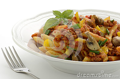 Penne with Italian sausage and mushrooms