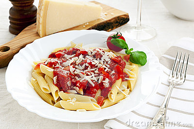 Penne Pasta With Tomato Sauce And Parmesan Cheese Royalty Free Stock ...