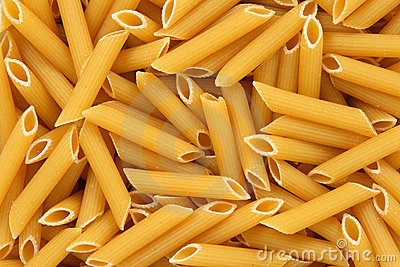 Penne rigate pasta background