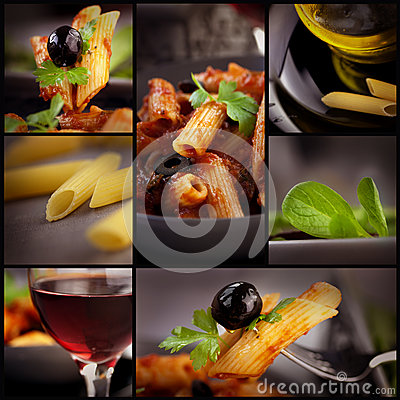 Free Penne With Olives Collage Stock Photos - 27998003