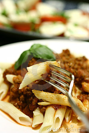 Free Penne With Tomato Meat Sauce Royalty Free Stock Images - 1582389