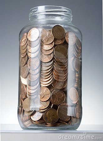 Pennies in jar