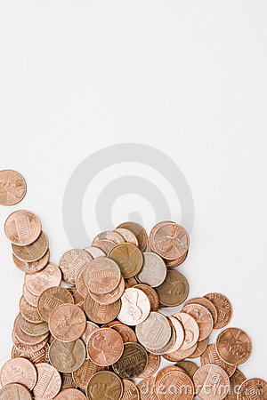 Free Pennies Vertical Royalty Free Stock Photography - 9159357