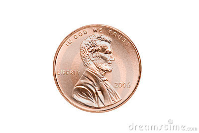Penny Isolated Closeup Stock Photography - Image: 3389152
