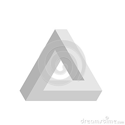 Penrose triangle icon in grey. Geometric 3D object optical illusion. Vector illustration Vector Illustration