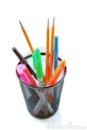 Free Pens And Pencils In Pencil Holder Stock Images - 592014