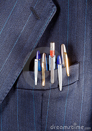 Free Pens In A Pocket Royalty Free Stock Photography - 22475377