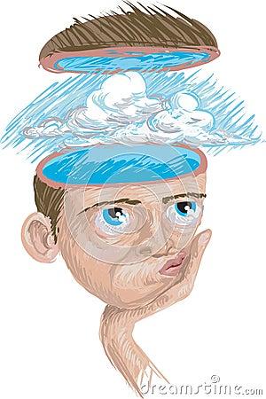 Pensamiento del cielo azul