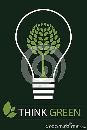 Pense o fundo verde 3 do conceito - vetor