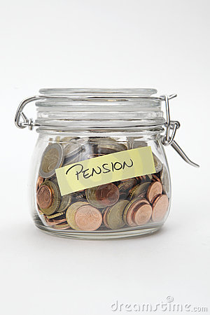 Pension - Euro coins in a glass jar