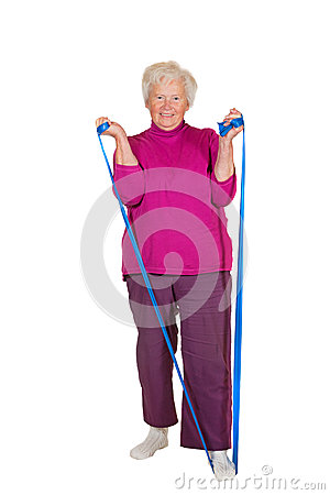Pensioner exercising with strap