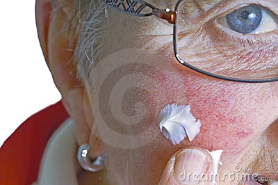 Pensioner with ointment