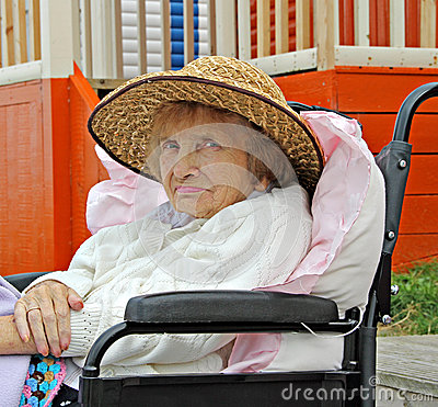 Pensioner in wheelchair