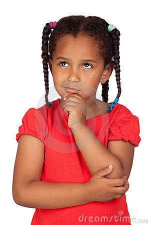Free Pensive African Little Girl Royalty Free Stock Images - 20011389