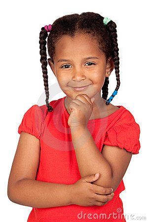 Free Pensive African Little Girl Stock Photography - 20011402