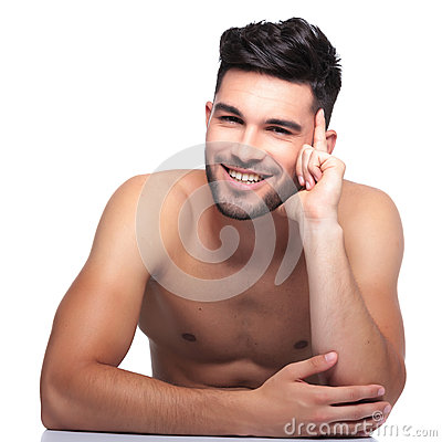 Pensive beauty naked man is laughing