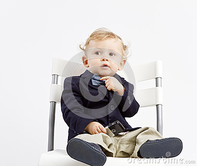 Pensive business baby