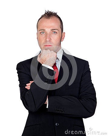Pensive businessman isolated background