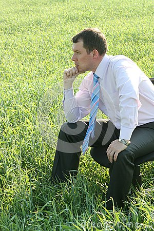 Pensive businessman on meadow