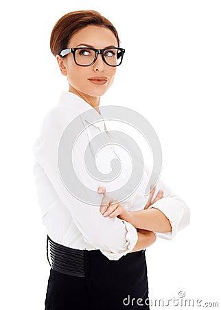Pensive businesswoman looking upwards