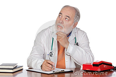 Pensive family doctor in the oficce