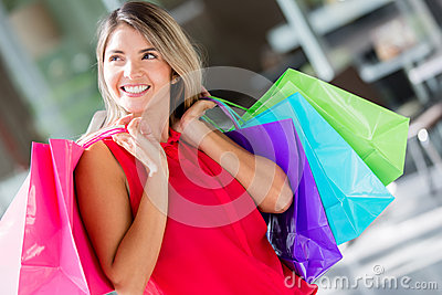 Pensive female shopper