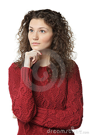 Pensive female in sweater