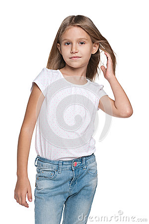 Free Pensive Little Girl With Flowing Hair Stock Image - 47766491