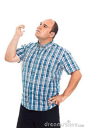 Pensive man gesturing