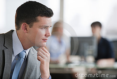 Pensive Man in Office