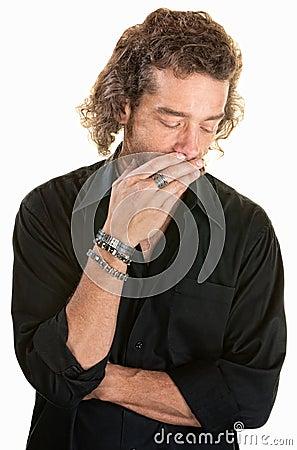 Pensive Man Over White
