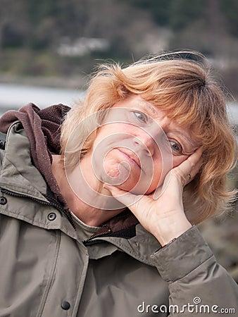 Free Pensive Mature Woman Stock Photography - 12894912