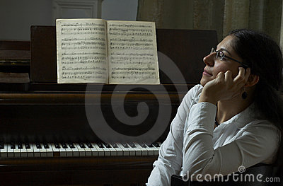 Pensive Piano Teacher Portrait