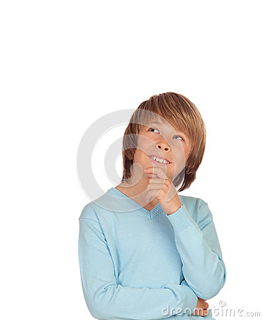 Pensive preteen boy