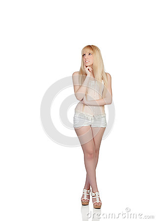 Pensive sensual girl with shorts