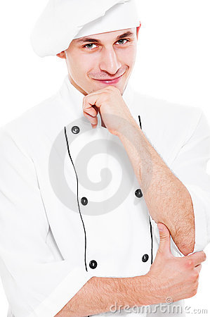 Pensive smiley cook